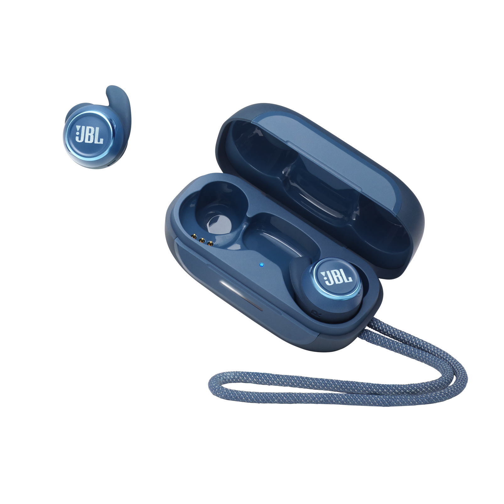 JBL Reflect Mini NC - Blue - Waterproof True Wireless In-Ear NC Sport Headphones - Hero