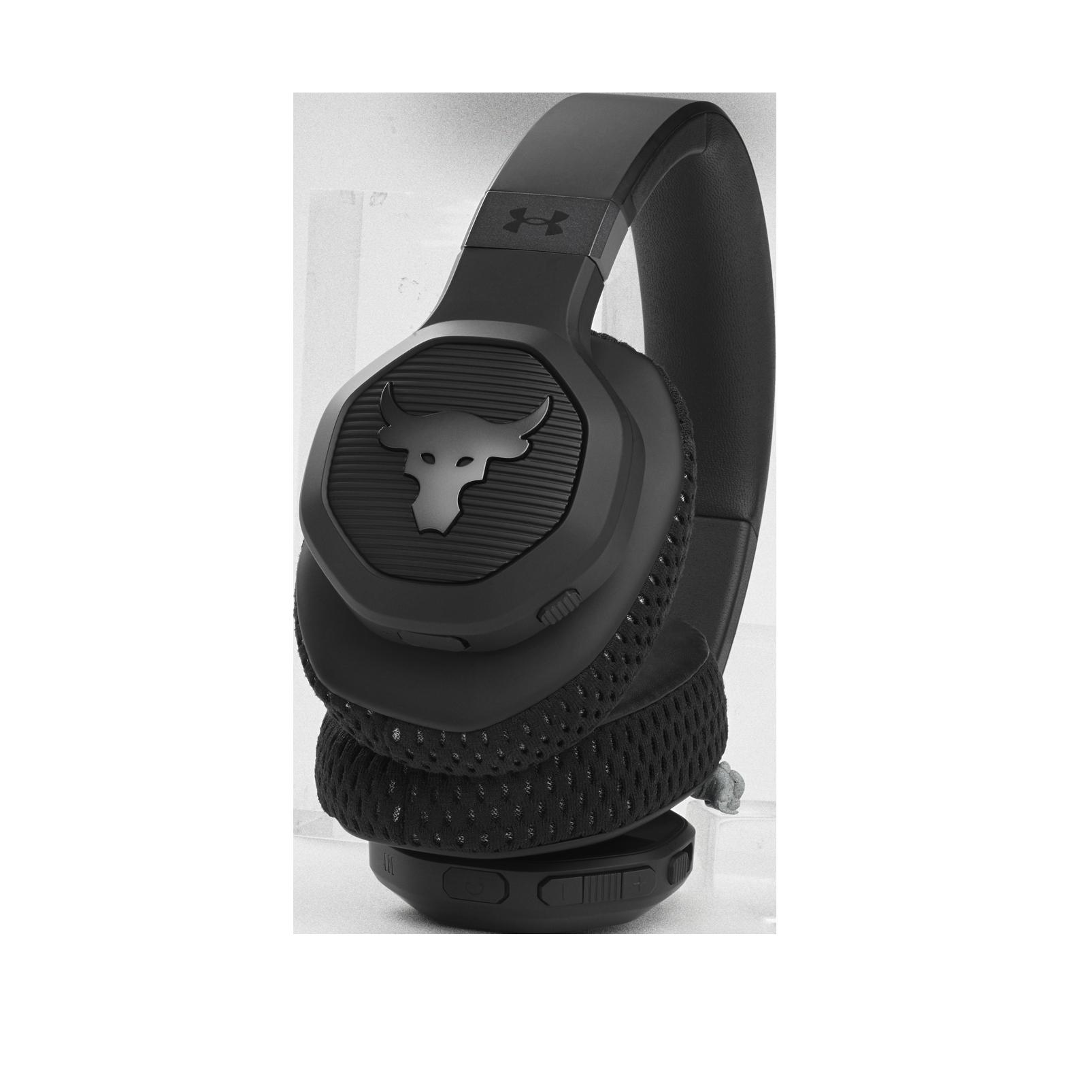 UA Project Rock Over-Ear Training Headphones - Engineered by JBL - Black - Over-Ear ANC Sport Headphones - Detailshot 1