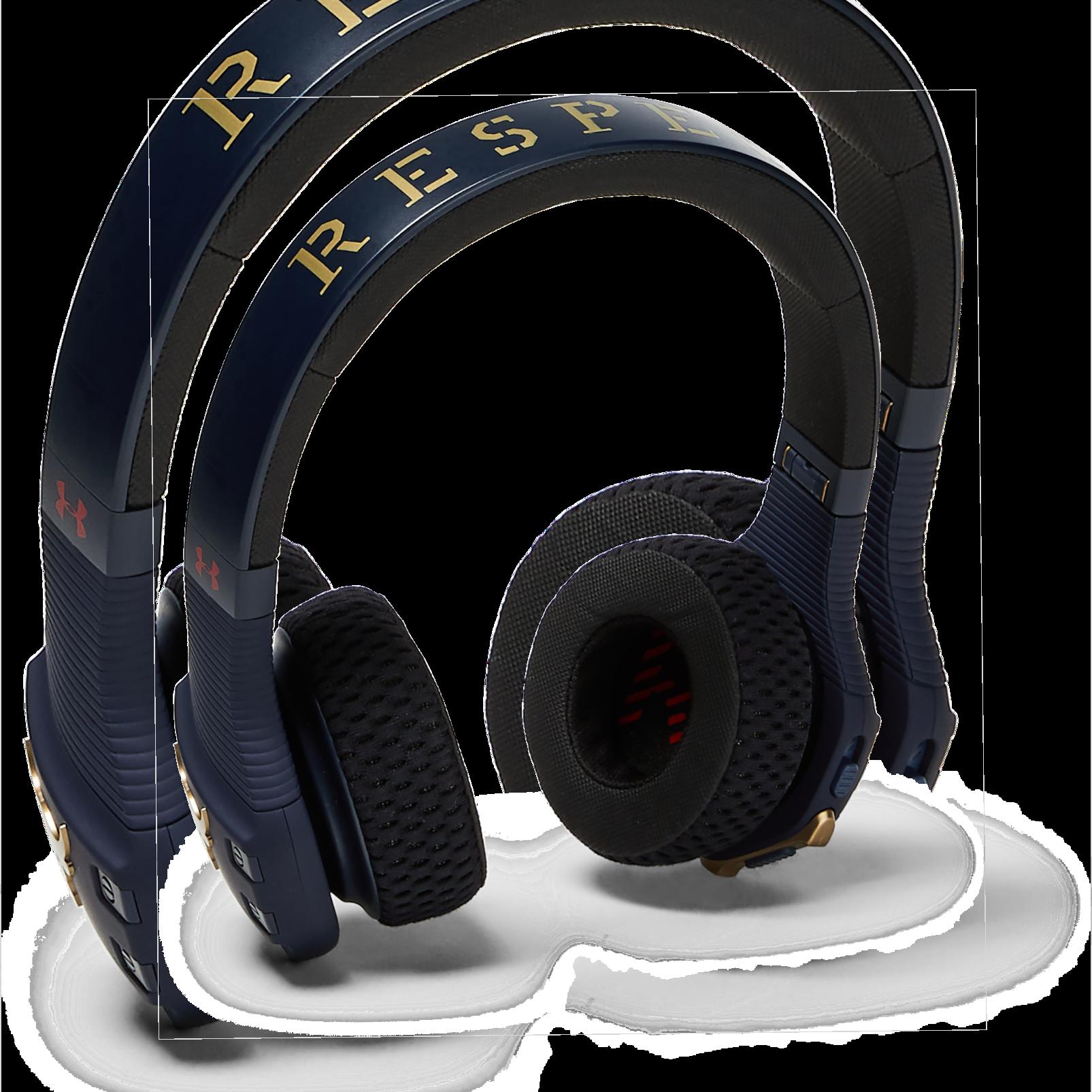 UA Sport Wireless Train Project Rock – Engineered by JBL - Blue - On-ear sport Headphones - Left