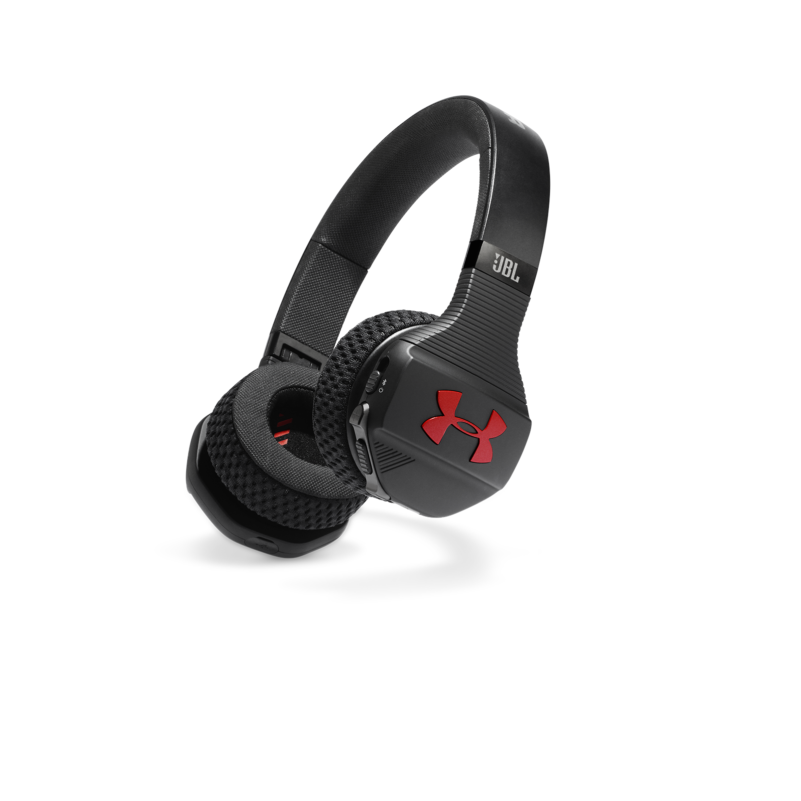 UA Sport Wireless Train – Engineered by JBL - Black / Red - Wireless on-ear headphone built for the gym - Hero